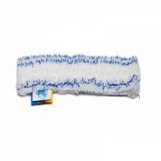 Шубка для мытья окон, 45 см, микрофибра, липучка, белая с синей полосой