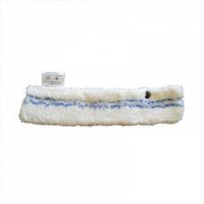 Шубка для мытья окон, 35 см, микрофибра, абразив, кнопки, белая
